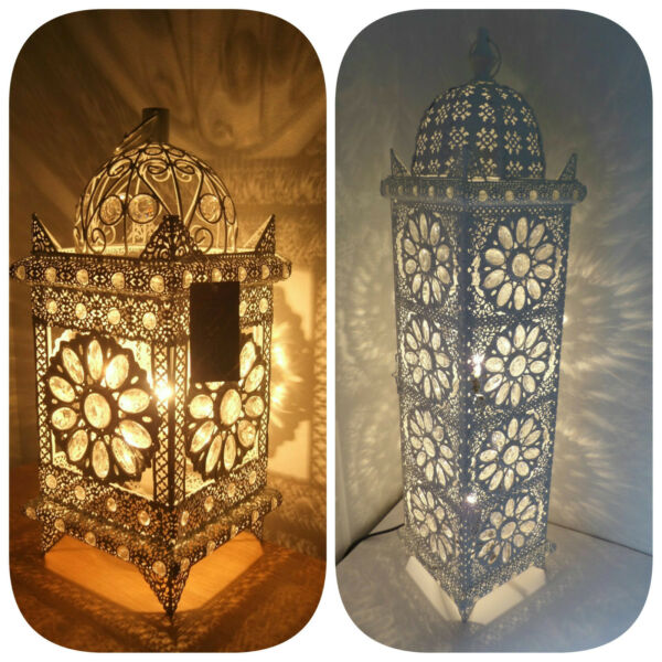 Moroccan Style Floor Table Lamp Jeweled Cutwork Flower Stunning Brand New