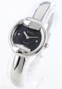 GUCCI-BLACK-SILVER-BANGLE-BRACELET-WATCH-YA014511-NEW-750