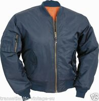 Classic Ma-1 Flight Jacket Us Pilot Bomber Mens Airforce S-3xl Petrol Blue