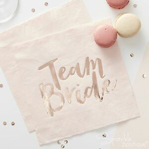 Team Bride Napkins Pastel Pinkrose Gold Hen Party Accessories