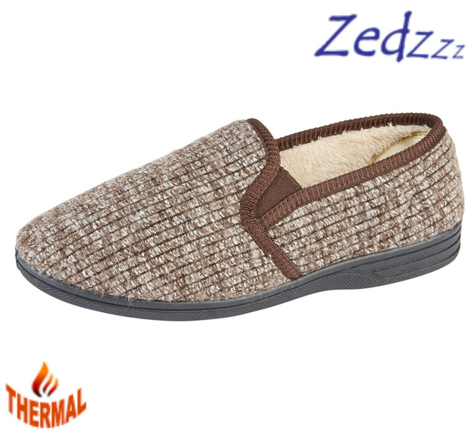 Mens Twin Gusset Brown Ribbed Warm Lined Thermal Slippers Size 6 7 8 9 10 11 12
