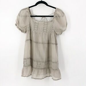 Johnny-Was-4-Love-amp-Liberty-Silk-Blouse-Tunic-Top-Size-Small-Gray-Short-Sleeve