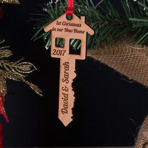Personalizzata-in-LEGNO-PRIMO-1st-Natale-nel-nostro-la-tua-nuova-casa-Chiave-Albero-Decorazione