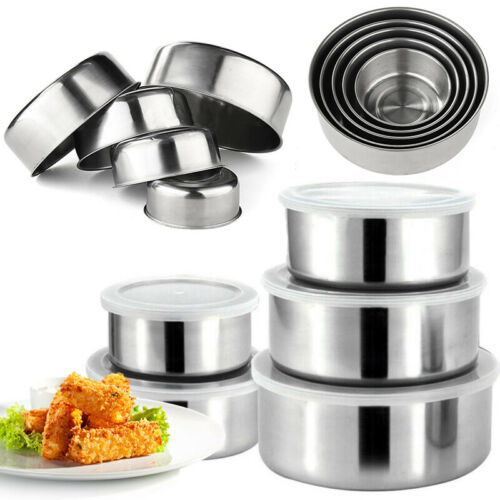 10 Piece Mixing Stainless Steel 5 Food Storage Bowls with 5 Plastic w//Lids Set