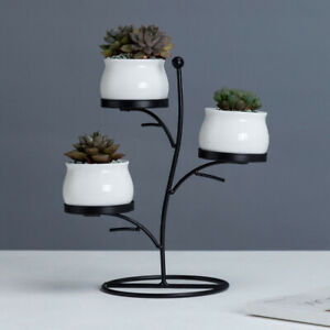 Small-Plant-Vase-Flower-Ceramic-Pot-Planter-Holder-3-Tier-Iron-Shelf-Stand