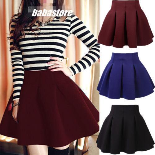 Women Cotton Vintage Stretch High Waist Plain Skater Flared Pleated Skirt vZ