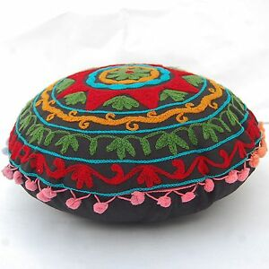 Suzani Round Cushion Cover Indian Vintage Decorative Embroidery Pillow Cases 16