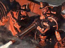 Pinturas Retrato Fuego Barco Bombero Manguera Cañón de agua Art Poster Print lv3343