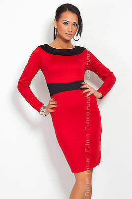 Unique & Stunning Women's Dress V Neck on Back Long Sleeve Boat Neck FK1214
