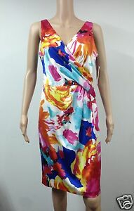 NEW-Ralph-Lauren-Sleeveless-Knee-Length-Dress-Size-12-Floral-Multicolored-154
