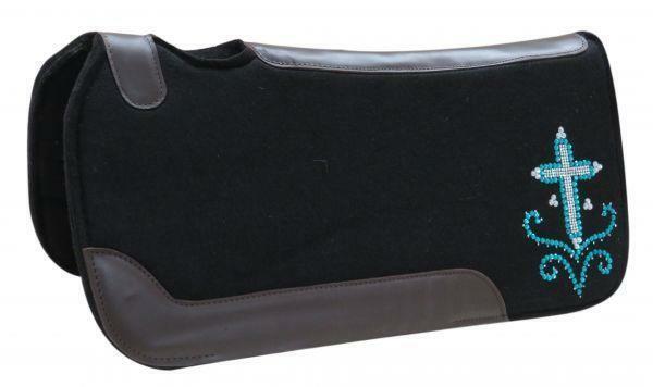 Showman 31  X 31  Negro Silla de Fieltro Pad Con Cristal Estrás Cruz Tachuela del diseño