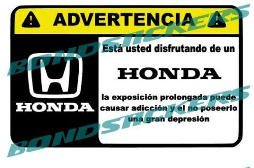 Vinilo impreso pegatina ADVERTENCIA HONDA RACING STICKER DECAL