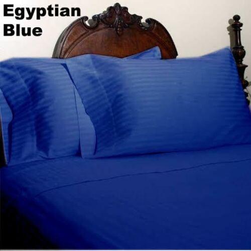 FITTED SHEET EGYPTIAN BLUE STRIPED ALL SIZES 1000 TC EGYPTIAN COTTON DUVET SET