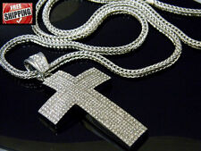 Silver Chunky Franco Chain Hip Hop Iced Out Cross Crucifix Pendant Crystal Jesus