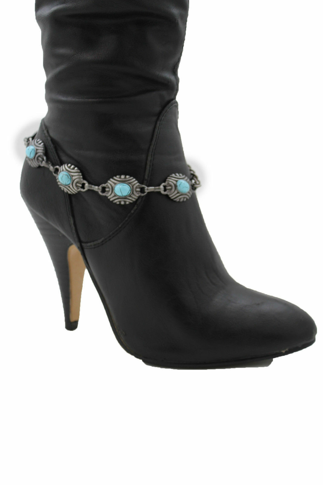 Women Silver Metal Chain Boot Bracelet Western Shoe Charms Anklet Oval Turquoise