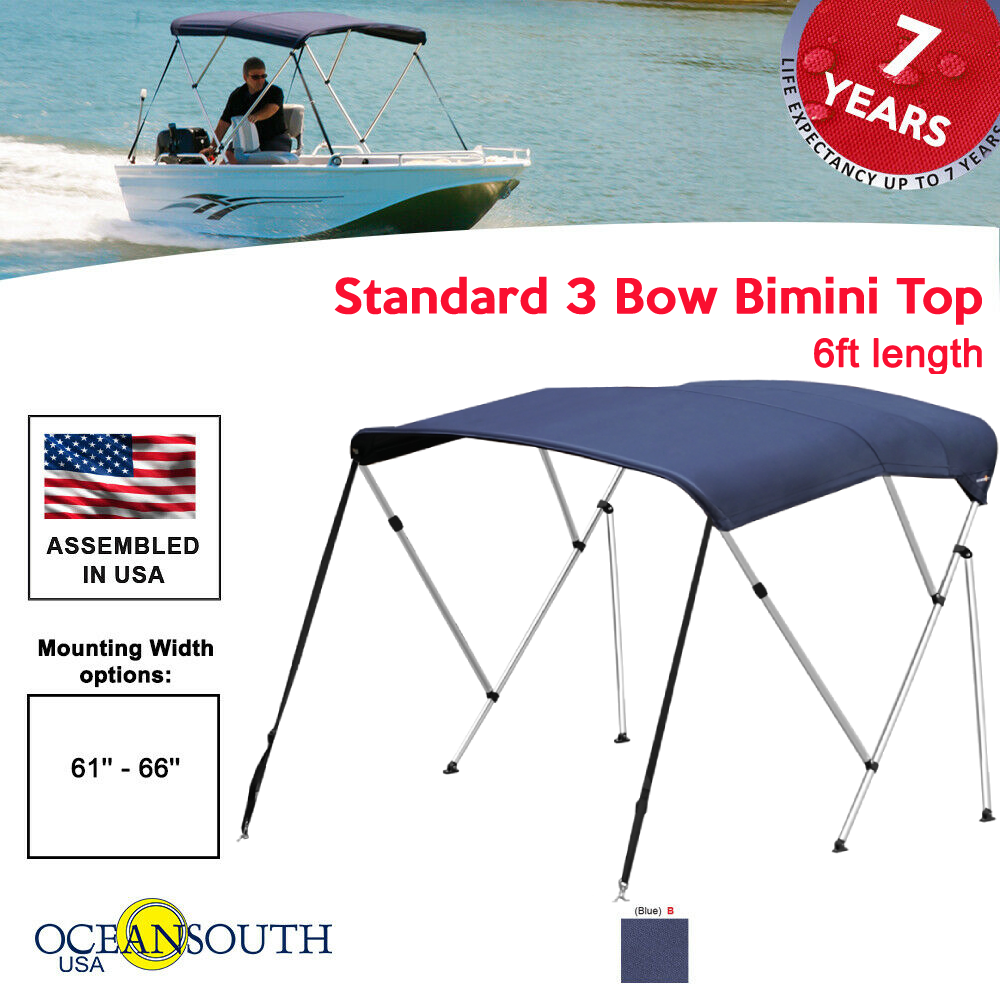 Black or Grey and in Five Different Sizes Oceansouth Premium 3 Bow Bimini Top with Rear Support Poles Available in Blue