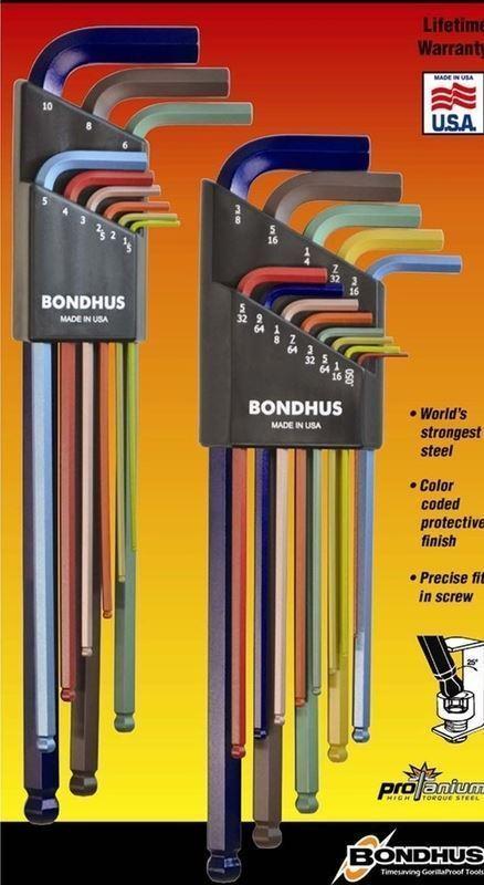 Bondhus FarbeGuard Metric & Imperial Hex Allen Key Set Extra Long BLX22XLCG