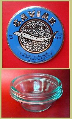 RR Original USSR Soviet Unused Metal Tin Cap /& Glass Box of Black Caviar 1980s