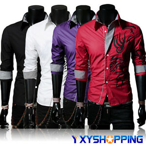 Men-Luxury-Slim-Fit-Stylish-Dress-Dragon-Print-Long-Sleeve-Casual-Leisure-Shirts