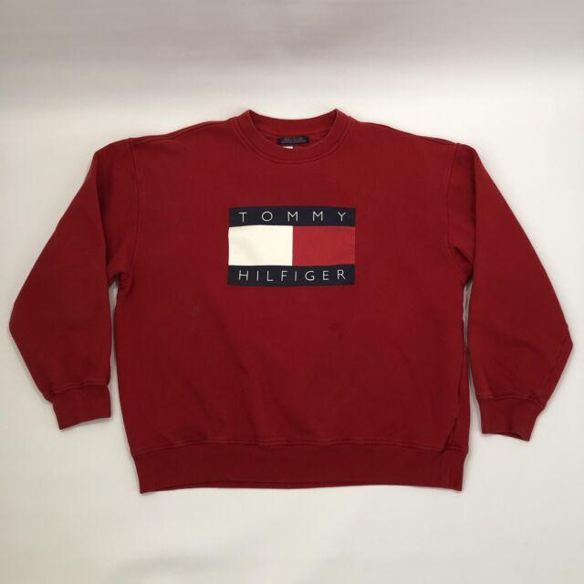 6912012c Vintage 90's TOMMY HILFIGER Big Logo Flag Pullover Crewneck Sweatshirt Sz  XL Vtg