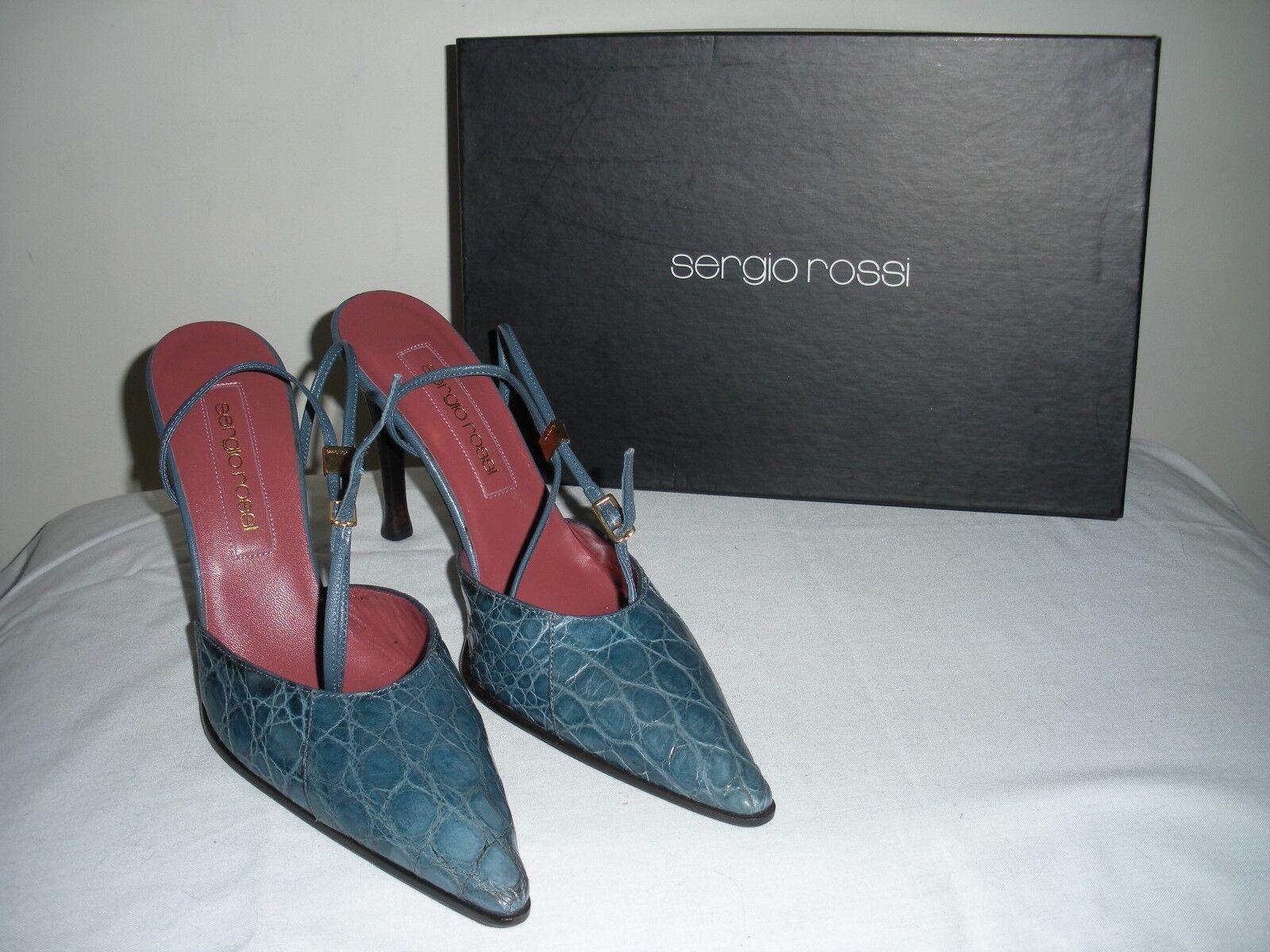 SEXY~   NIB $530 SERGIO Leder ROSSI blau Crocodile  Leder SERGIO  Ankle Strap schuhes ITALY 7M d75799