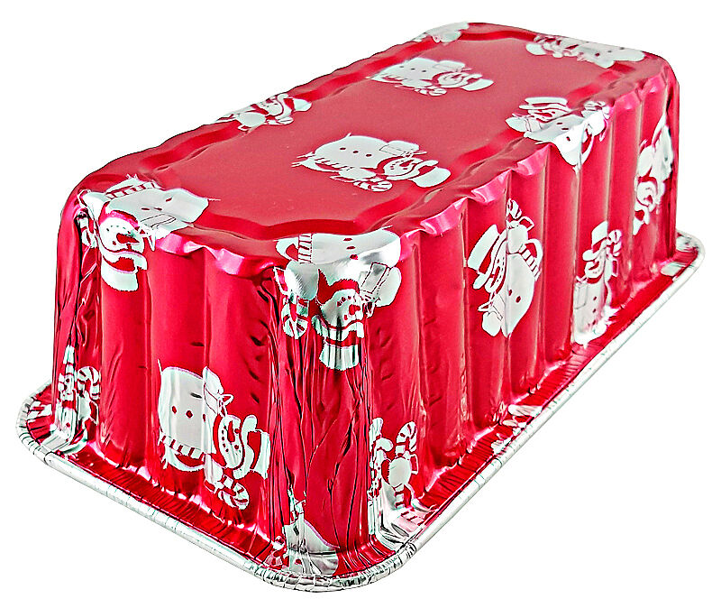 Handi-Foil 2 lb. Red Snowman Holiday Christmas Loaf Bread Pan w/Clear Dome Lids 7