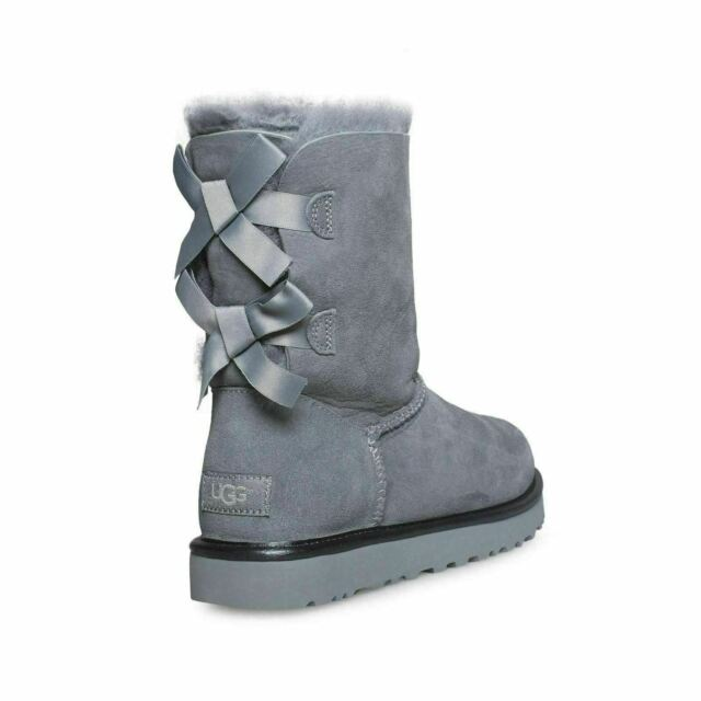 28d82e61619 UGG Bailey Bow II Metallic Geyser Suede Sheepskin Short Ankle BOOTS Size US  9