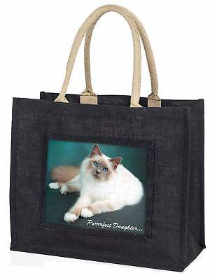 Birma-Katze 'Purrrfect Daughter' große schwarze Einkaufstasche WEIHNACHTEN vor,