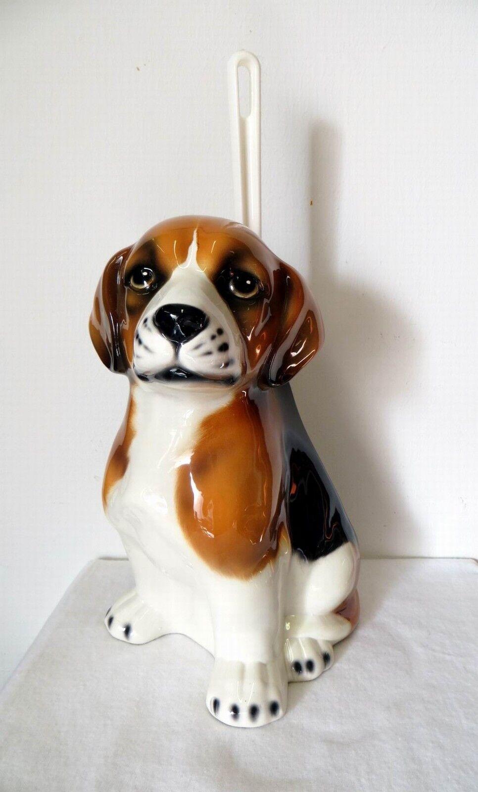 Tolle WC Bürstengarnitur   BEAGLE    ca.30cm Italien Keramik handbemalt
