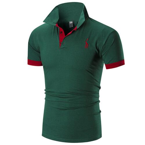 Men Slim Fit Slim Shirts Muscle Solid Short Sleeve Casual T-shirt Work Tee Top