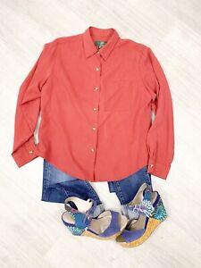 Orvis-100-Seda-quemado-rojo-manga-larga-Blusa-Camisa-Talla-14-Blogger-Raro
