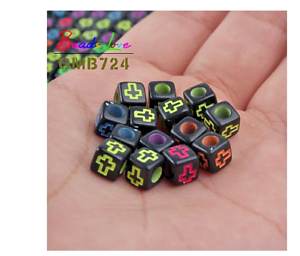 100pcs Mixed Letter Acrylic Beads Alphabet Digital Cube Bead For Jewelry Making
