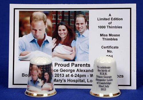 Proud Parents Prince George Ltd Ed.'Made With Love' Thimble + Photo Cert  B/118