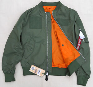 ALPHA-INDUSTRIES-L2B-Flex-Flight-Bomber-Jacket-Reversible-Sage-Orange-Men-039-s-Med