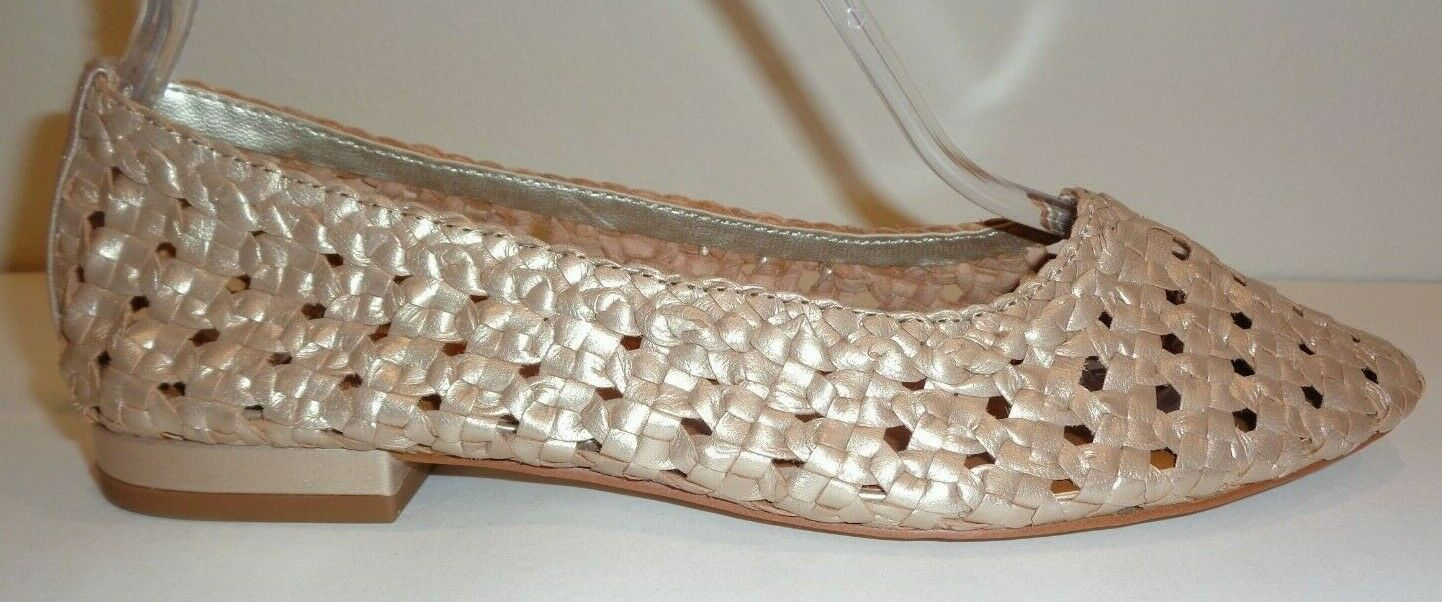 Halston Size 7.5 M IRENE gold Leather Basket Weave Flats New Womens shoes