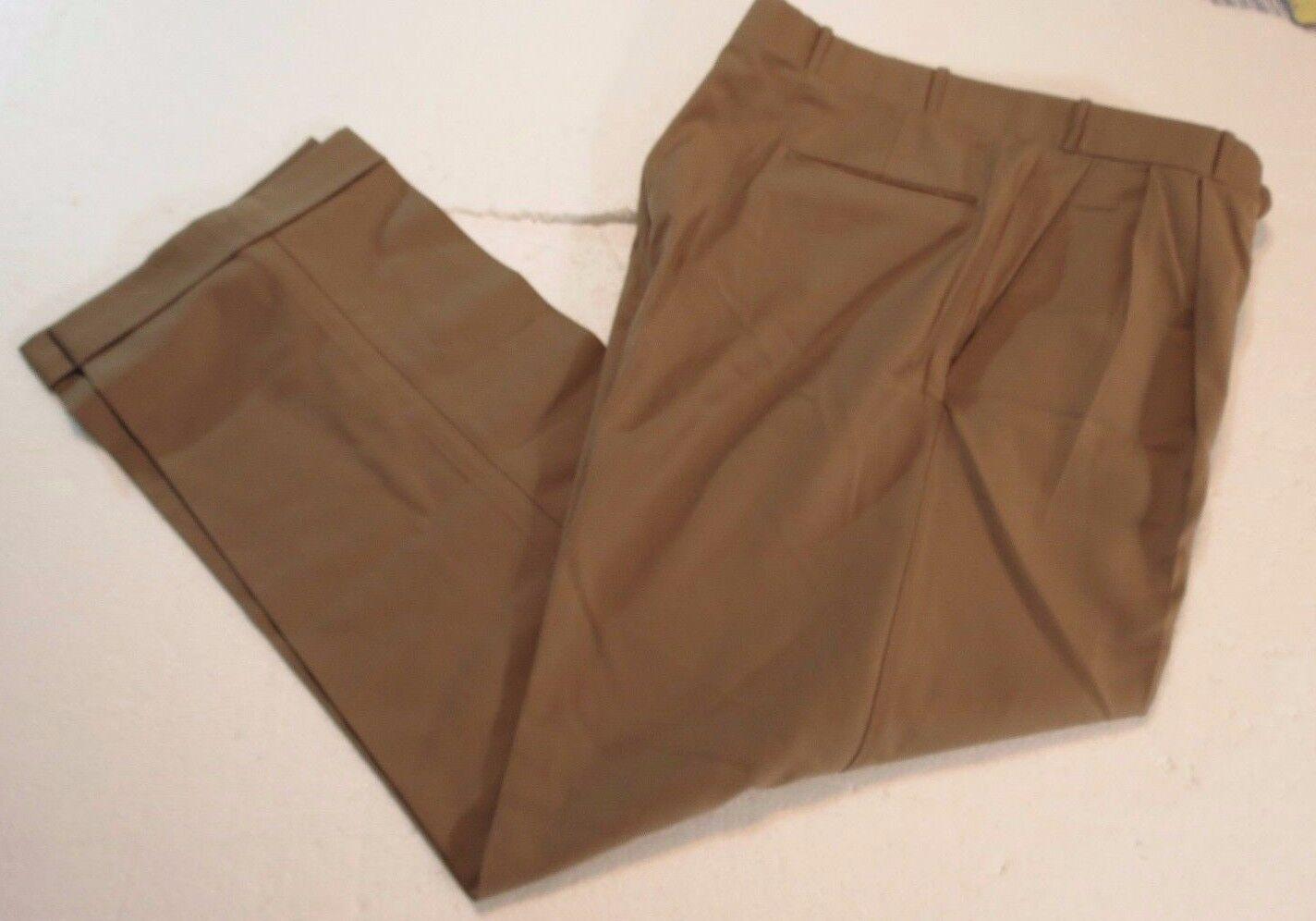 Miller Bredhers Ltd. sz 35 x 31 Khaki Tan Super 120s Wool Pants  Lgold Piana