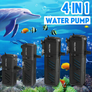 4 In 1 Aquarium Fish Tank Water Pump Internal Filter Submersible Pond Fountain Ebay