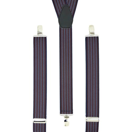 Dark Red Navy Stripes Clip On Trouser Braces Elastic Suspenders Handmade UK