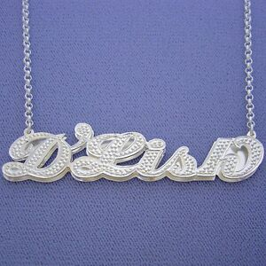 Large Size Silver Name Necklace