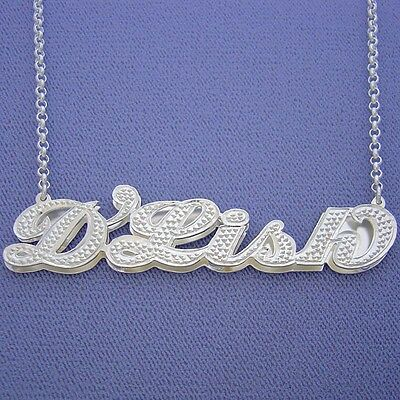 ** NAME 3D DOUBLE PLATE SILVER PERSONALIZED ANY NAME NECKLACE Made in USA