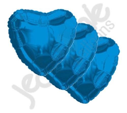"18/"" Solid Blue Heart Balloon Wedding Baby Bridal Shower Birthday Luau 3 pc"