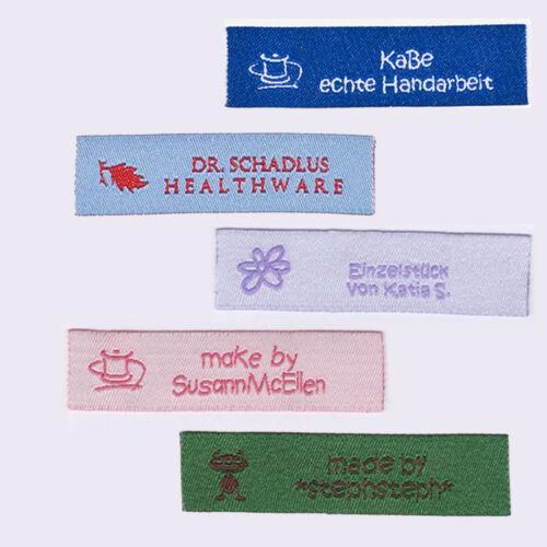Namensbänder mit Ihrem  Motiv,Text zwei-zeilig 50 individuelle Textiletiketten
