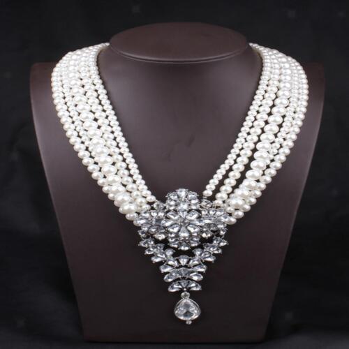 Élégant Femme Multicouche Chaîne Tour de cou élégant Faux Perles Collier Pendentif