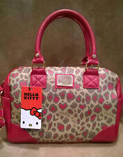 NWT Sanrio HELLO KITTY Cheetah Leopard Print Satchel Purse HandBag Red Brown
