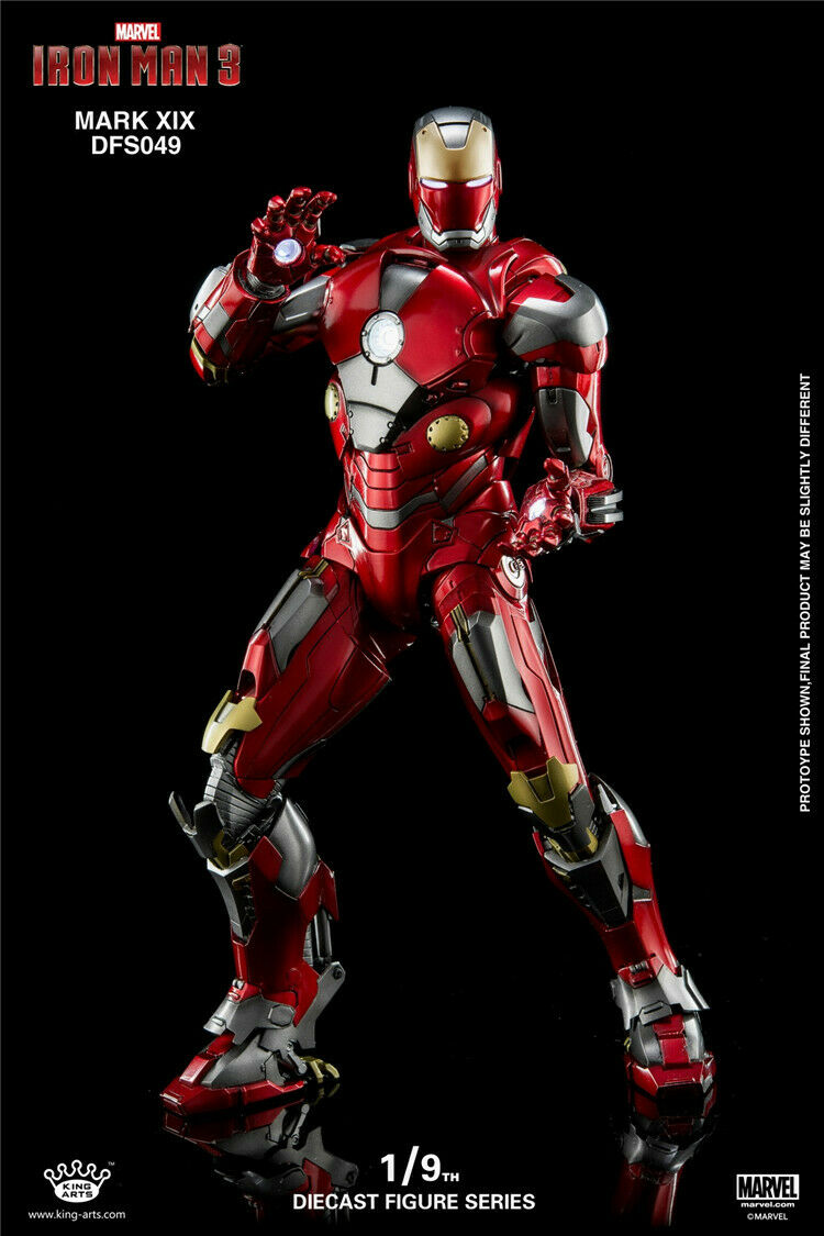 King Arts DFS049 1 9 LED Luz Iron Man Mark 19 Figura Modelo Muñeco Coleccionable