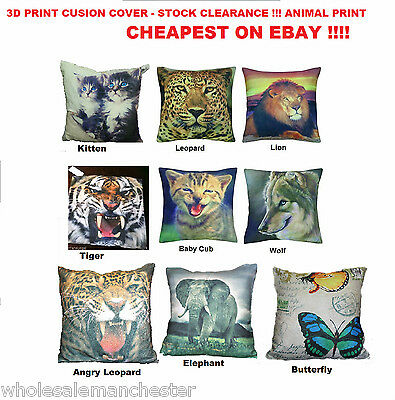 3D ANIMAL PRINT CUSHION COVER  - STOCK CLEARANCE -  VARIETY OF DESIGN TO CHOOSE