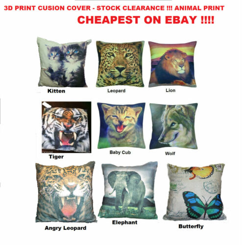 VARIETY OF DESIGN TO CHOOSE STOCK CLEARANCE 3D ANIMAL PRINT CUSHION COVER