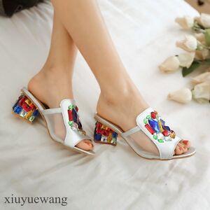 Womens-Mid-Block-Heel-Peep-toe-Colorful-Rhinestone-Fashion-Slippers-Shoes-Sandal