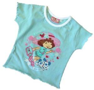 T-SHIRT-TOP-fille-4-ans-charlotte-aux-fraises-neuf-et-etiquette-bleu-fille