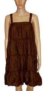 NEW-Gap-Old-Navy-Dark-Brown-Ruffled-Layered-Floaty-Sleeveless-Dress-Size-14